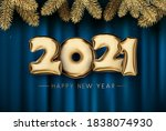 golden foil balloon 2021 sign...   Shutterstock .eps vector #1838074930