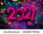 pink foil balloon 2021 sign...   Shutterstock .eps vector #1838074936