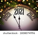 clock hands showing 2021 year... | Shutterstock .eps vector #1838074996