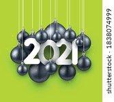 white 2021 sign among hanging...   Shutterstock .eps vector #1838074999