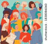 diverse women faces background  ...   Shutterstock .eps vector #1838086060