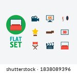 movie icons set. 4k cinema and...   Shutterstock .eps vector #1838089396