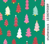 christmas doodle trees vector... | Shutterstock .eps vector #1838090089