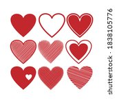 hearts doodles collection.... | Shutterstock .eps vector #1838105776