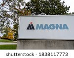 Small photo of Newmarket, Ontario, Canada - October 3, 2020: Close up Magna sign in Newmarket, Ontario, Canada. Magna International Inc. is a Canadian mobility technology company for automakers.