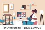 mix race women on monitor... | Shutterstock .eps vector #1838129929