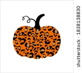 pumpkin. cute pumpkin with... | Shutterstock .eps vector #1838138830