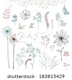 hand drawn floral set with... | Shutterstock .eps vector #183815429