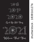 2021 bicycle happy new year... | Shutterstock .eps vector #1838161276