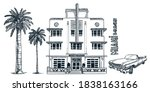 miami street with vintage... | Shutterstock .eps vector #1838163166