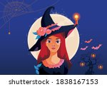 halloween fullmoon banner ... | Shutterstock .eps vector #1838167153