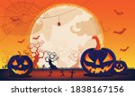 halloween fullmoon banner ... | Shutterstock .eps vector #1838167156