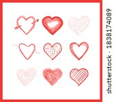 doodle hearts  hand drawn love... | Shutterstock .eps vector #1838174089