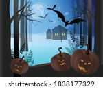 horrible pumpkins  the moon ... | Shutterstock .eps vector #1838177329