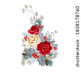 christmas bouquet with roses ...   Shutterstock .eps vector #1838178760