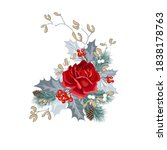 vector card with rose  holly ...   Shutterstock .eps vector #1838178763