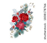 christmas bouquet with roses ...   Shutterstock .eps vector #1838178766