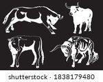 vector set of oxen on black... | Shutterstock .eps vector #1838179480