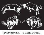 vector set of oxen on black... | Shutterstock .eps vector #1838179483