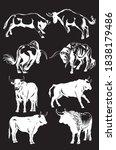 vector set of oxen on black... | Shutterstock .eps vector #1838179486