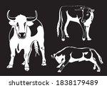 vector set of oxen on black... | Shutterstock .eps vector #1838179489