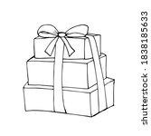 hand drawn christmas gift box...   Shutterstock .eps vector #1838185633
