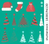 set of flat christmas icons in...   Shutterstock .eps vector #1838196130