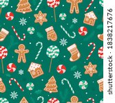 seamless christmas pattern with ... | Shutterstock .eps vector #1838217676