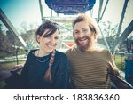 young modern stylish couple... | Shutterstock . vector #183836360