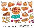 set of hand drawn pie doodles | Shutterstock .eps vector #1838370310