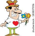 cartoon illustration of a man... | Shutterstock . vector #183837056
