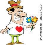 cartoon illustration of a man... | Shutterstock .eps vector #183837110