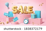 sale poster in 3d pastel... | Shutterstock .eps vector #1838372179