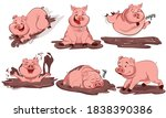 set of cute cartoon pig. pigs... | Shutterstock .eps vector #1838390386