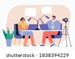 blogger podcaster streaming....   Shutterstock .eps vector #1838394229