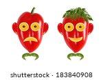 healthy eating. funny men's... | Shutterstock . vector #183840908