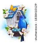 Blue Bird Titmouse Sit Near The ...