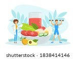 healthy nutrition and dieting ... | Shutterstock .eps vector #1838414146