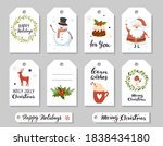christmas tags with wearth ... | Shutterstock .eps vector #1838434180