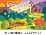 autumn farm landscape 1   eps10 ... | Shutterstock .eps vector #183844439
