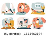 people doing physical exercises ... | Shutterstock .eps vector #1838463979