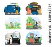 eco green energy set  flat... | Shutterstock .eps vector #1838469739