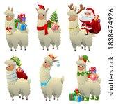 Christmas Llama Set. Alpaca...