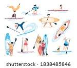 set of diverse active women... | Shutterstock .eps vector #1838485846