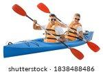 Kayaking Young Couple Isolated...