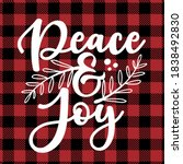 peace and joy   text on red and ... | Shutterstock .eps vector #1838492830