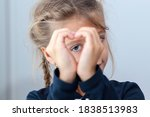 portrait of cute showing hand... | Shutterstock . vector #1838513983