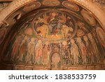 Close Up Frescoes On A Wall Of...
