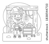 cartoon miner with a pickaxe... | Shutterstock .eps vector #1838544733