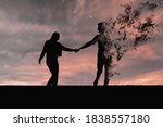 Silhouette Of Couple In Black....